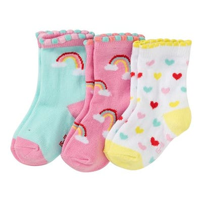Baby-Mädchen-Socken mit Mäusezähnchenrand, 3er Pack