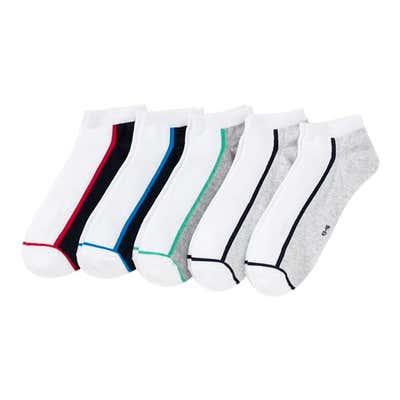 Herren-Sneaker-Socken mit Kontrast-Streifen, 5er Pack
