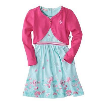 Baby-Mädchen-Kleid mit farbigem Rippbund