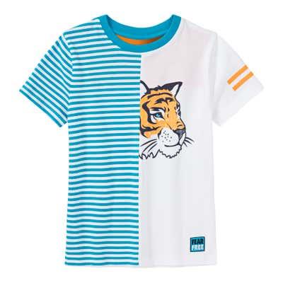 Jungen-T-Shirt mit zweiteiligem Farbdesign