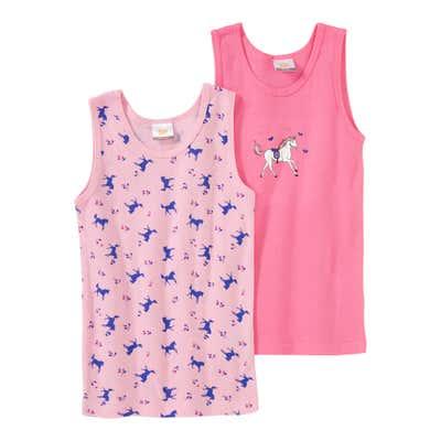 Mädchen-Unterhemd mit Pferde-Muster, 2er Pack