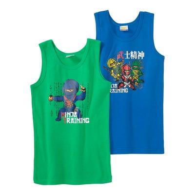 Jungen-Unterhemd mit Ninja-Aufdruck, 2er Pack