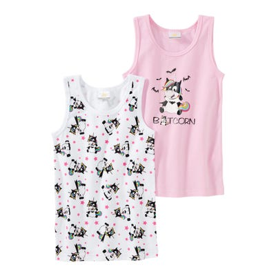 Mädchen-Unterhemd mit Fledermaus-Einhorn, 2er Pack
