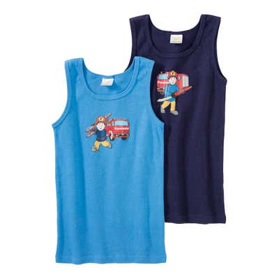 Jungen-Unterhemd mit Feuerwehr-Aufdruck, 2er Pack