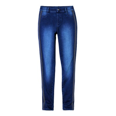Damen-Jeans mit glitzernden Galonstreifen