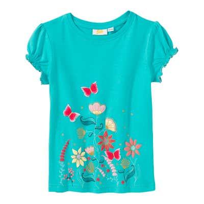 Mädchen-T-Shirt mit Schmetterlings-Applikationen