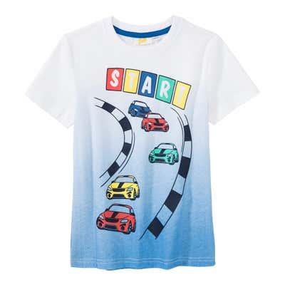 Jungen-Shirt mit Rennstrecken-Frontaufdruck