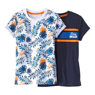 Kinder-Jungen-T-Shirt mit tropischem Motiv, 2er Set