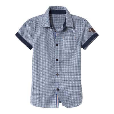 Kinder-Jungen-Hemd mit stylischen Kontrastabschlüssen
