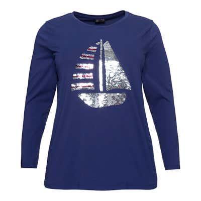 Damen-Shirt mit Pailletten-Applikation, große Größen