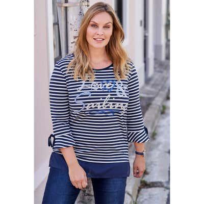 Damen-Shirt mit maritimem Streifenmuster, große Größen