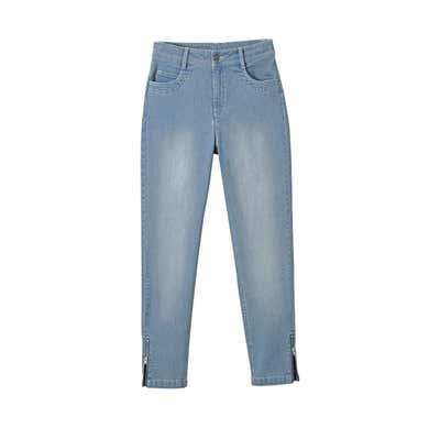 Damen-Jeans mit Reißverschluss am Beinende