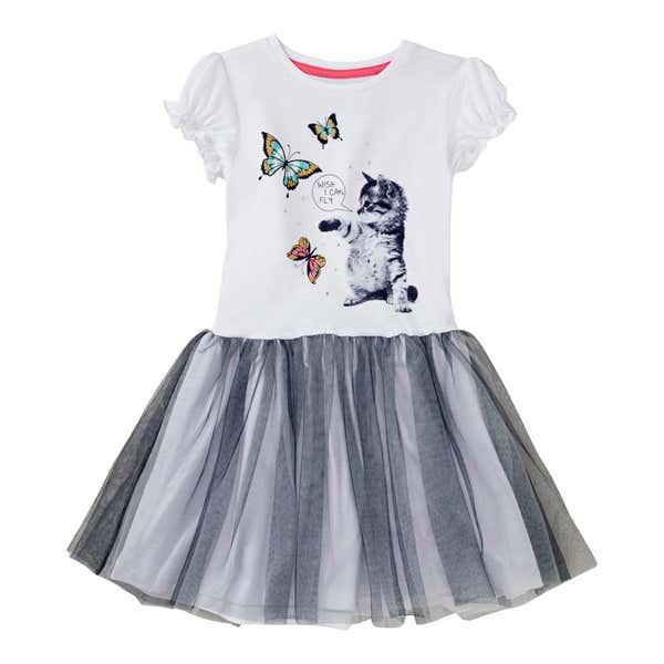 Mädchen-Kleid mit Katzen-Frontaufdruck