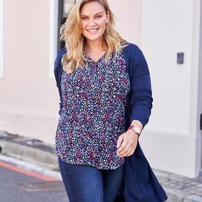 Damen-Bluse mit Brusttasche, große Größen