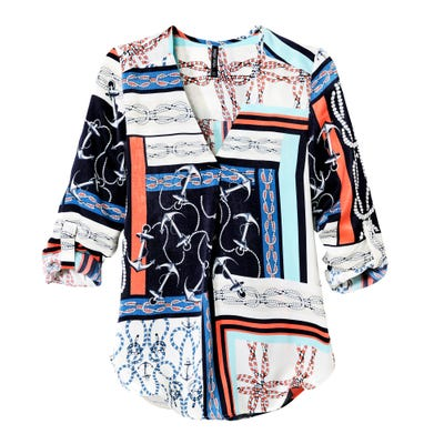 Damen-Bluse mit Anker-Design