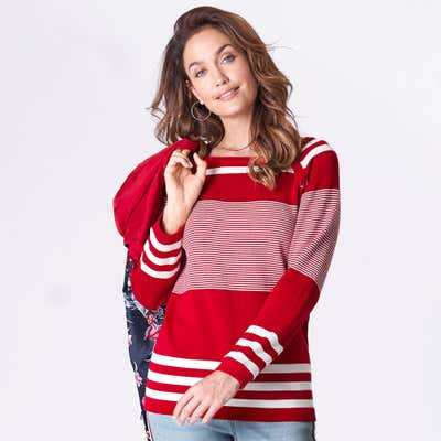 Damen-Pullover mit modernem Streifenmuster