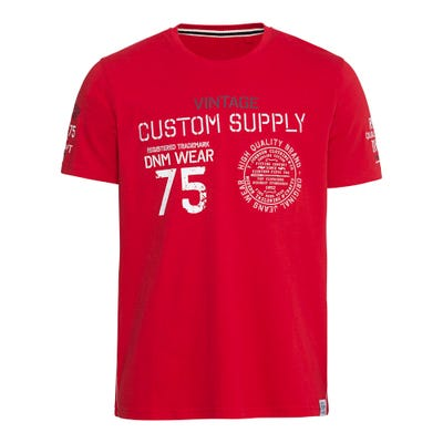 Herren-T-Shirt mit Aufdruck und Stickerei