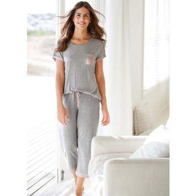 Damen-Schlafanzug mit süßer Brusttasche