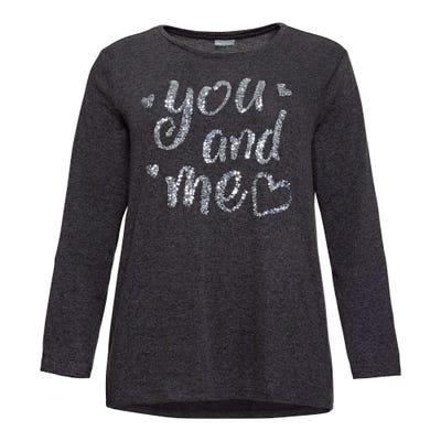 Damen-Sweatshirt mit Pailletten-Schriftzug, große Größen