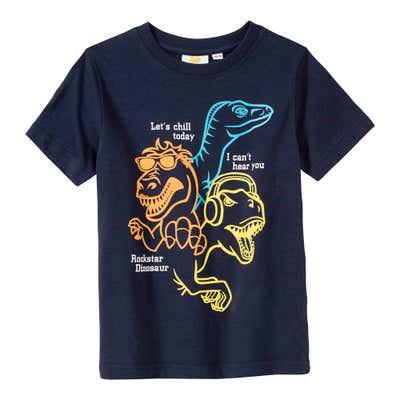 Jungen-T-Shirt mit modernem Dino-Frontaufdruck