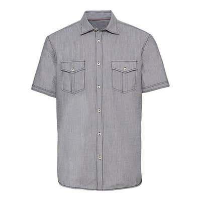 Herren-Seersucker-Hemd mit 2 Brusttaschen