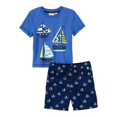 Baby-Jungen-Set mit Segelschiff-Frontaufdruck, 2-teilig