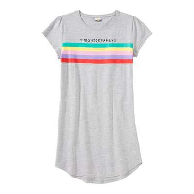 Mädchen-Nachthemd mit Regenbogen-Streifen