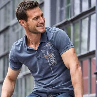 Herren-Poloshirt mit aufwändigem Design