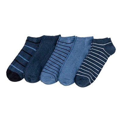 Herren-Sneaker-Socken mit Streifenmuster, 5er Pack