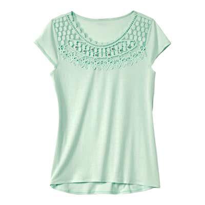 Damen-T-Shirt mit dekorativen Glitzersteinchen