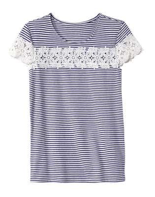 Damen-T-Shirt mit Spitzen-Zierband