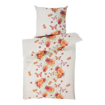 Baumwoll-Bettwäsche mit Blumen und Schmetterlingen