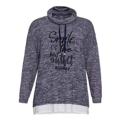 Damen-Sweatshirt mit Schmucksteinchen, große Größen
