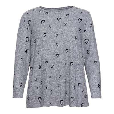 Damen-Sweatshirt mit Herz-Design, große Größen