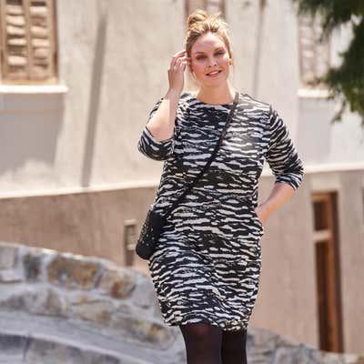 Damen-Kleid mit Zebra-Muster