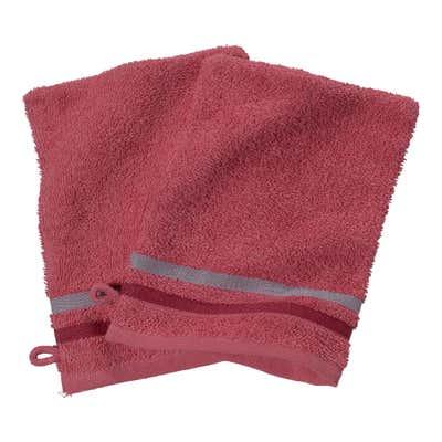 Waschhandschuh mit bunter Bordüre, ca. 16x21cm, 2er Pack