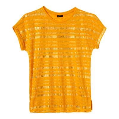 Damen-T-Shirt mit glänzendem Foliendruck