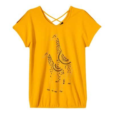 Damen-T-Shirt mit dekorativem Rückenausschnitt