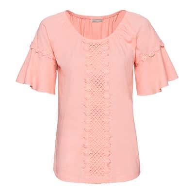 Damen-T-Shirt mit eleganter Spitzenverzierung