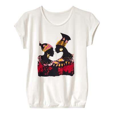 Damen-T-Shirt mit dekorativen Perlen und Pailletten
