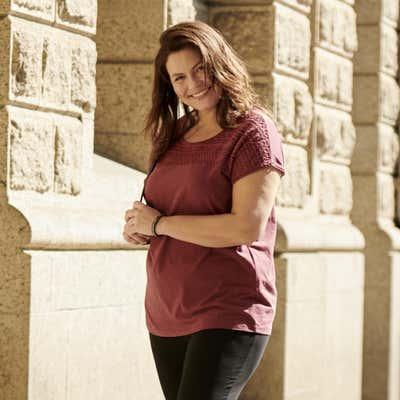 Damen-T-Shirt mit Spitzen-Verzierung, große Größen