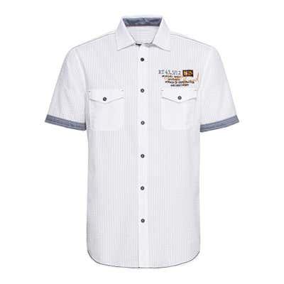 Herren-Seersucker-Hemd mit Jeans-Kontraststreifen