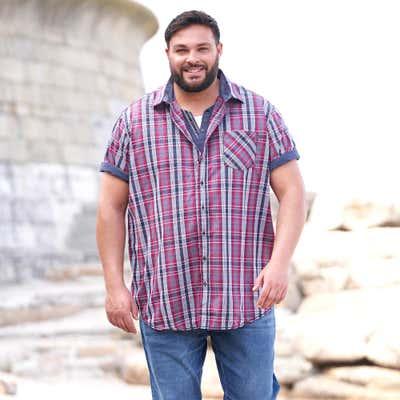 Herren-Hemd mit Karomuster, großen Größen