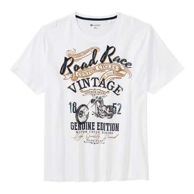Herren-T-Shirt mit Motorrad-Frontaufdruck, große Größen