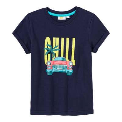 Jungen-T-Shirt mit lässigem Frontaufdruck