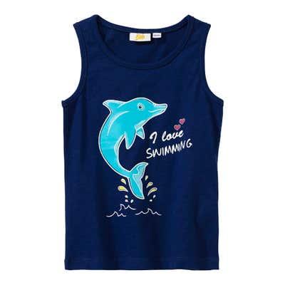 Mädchen-Top mit Delfin-Frontaufdruck