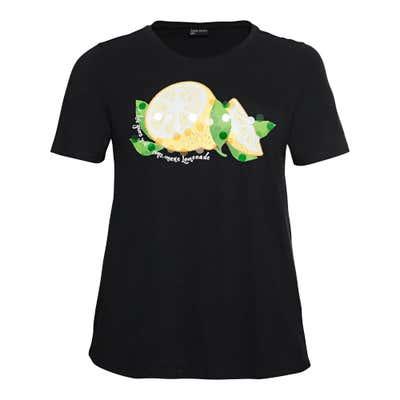 Damen-T-Shirt mit Zitronen-Frontaufdruck, große Größen