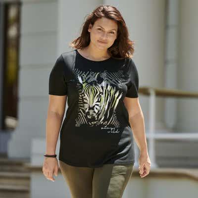 Damen-T-Shirt mit Zebra-Frontaufdruck, große Größen