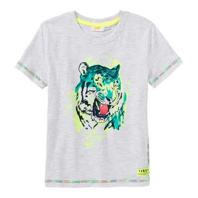 Jungen-T-Shirt mit Tiger-Frontaufdruck