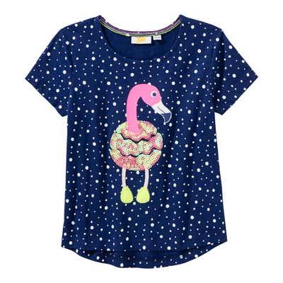Mädchen-T-Shirt mit Pailletten-Flamingo
